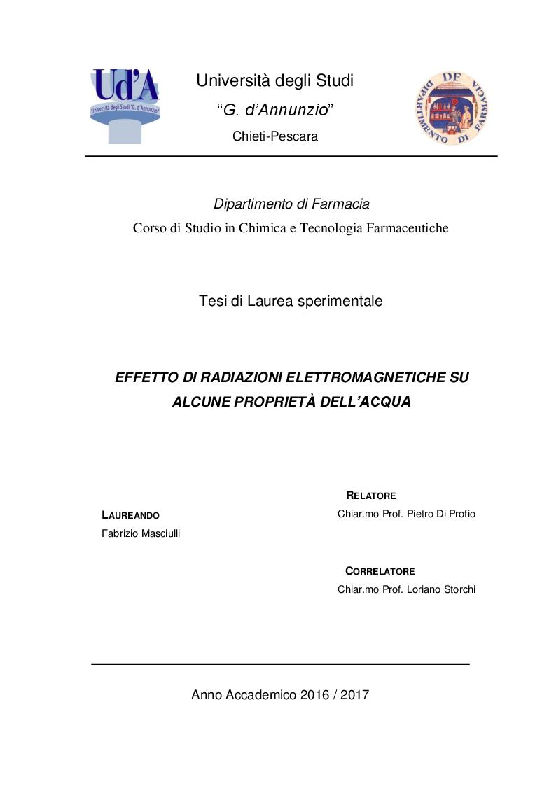 Anteprima della tesi: Effetto di radiazioni elettromagnetiche su alcune proprietà dell'acqua, Pagina 1
