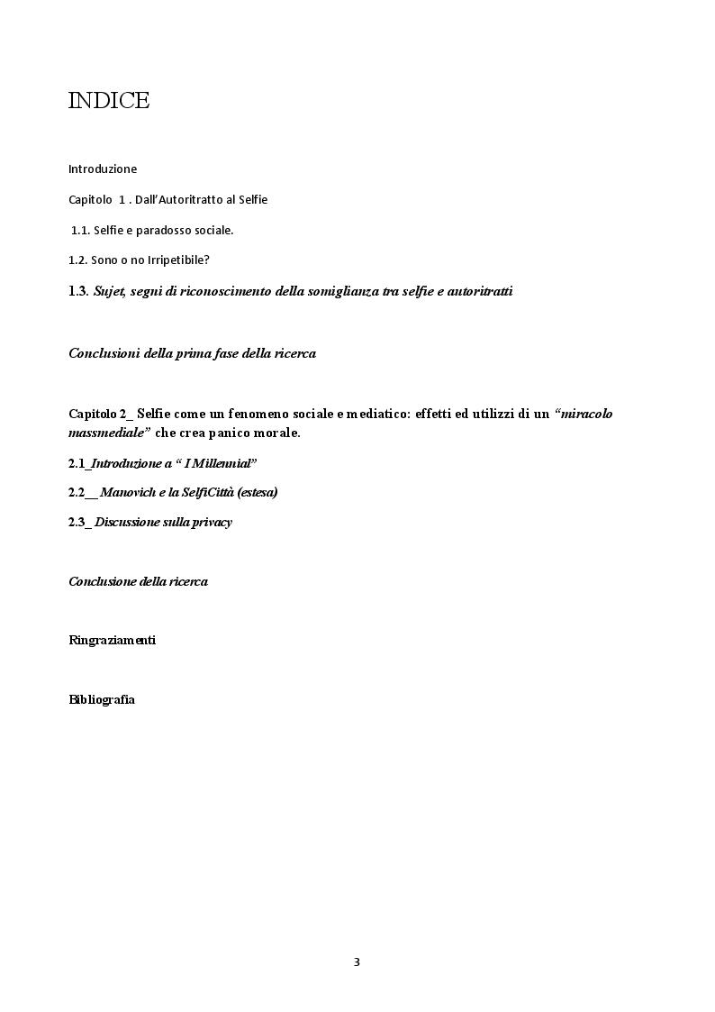 Indice della tesi: Il Selfie: strutture e dinamiche psico-sociali. Il paradosso comunicativo dell'immagine dell'io, Pagina 1