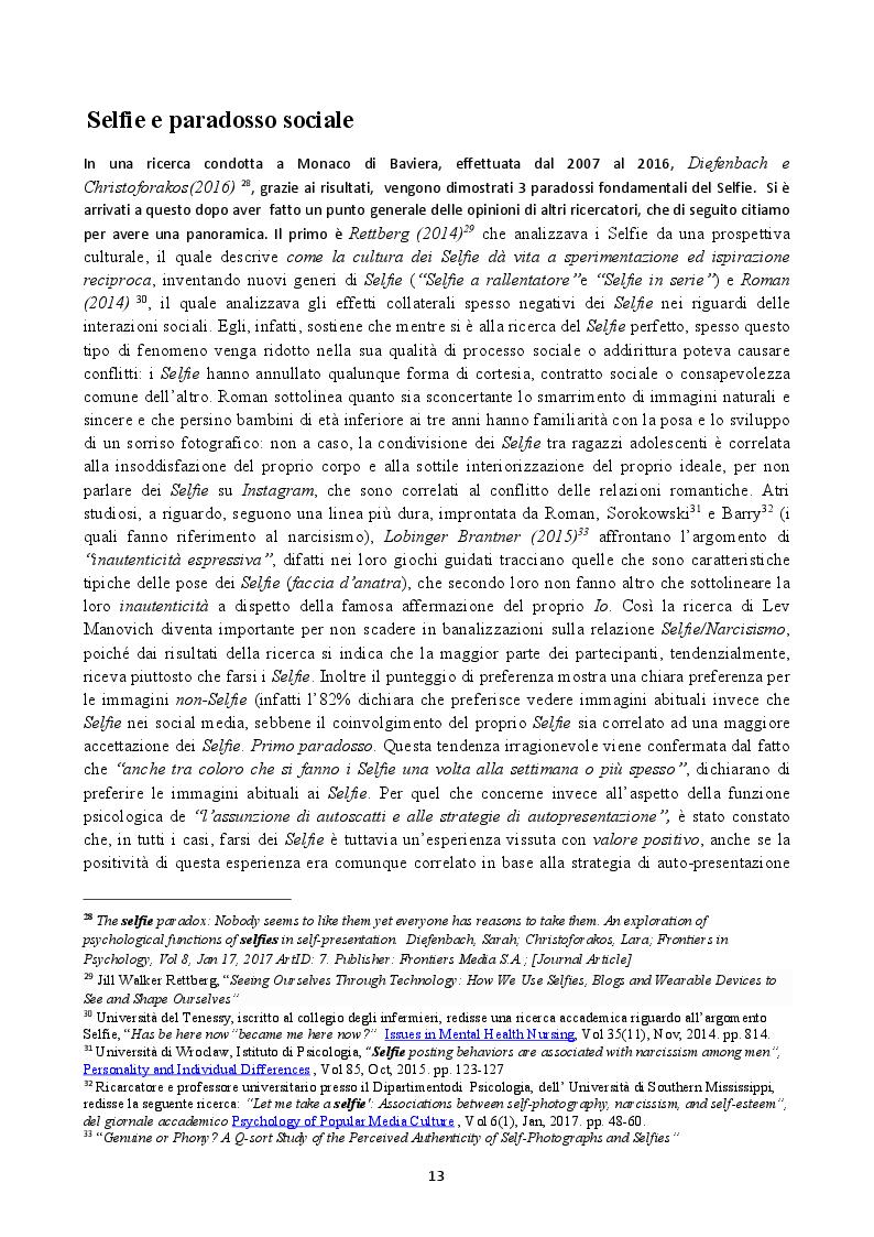 Anteprima della tesi: Il Selfie: strutture e dinamiche psico-sociali. Il paradosso comunicativo dell'immagine dell'io, Pagina 3