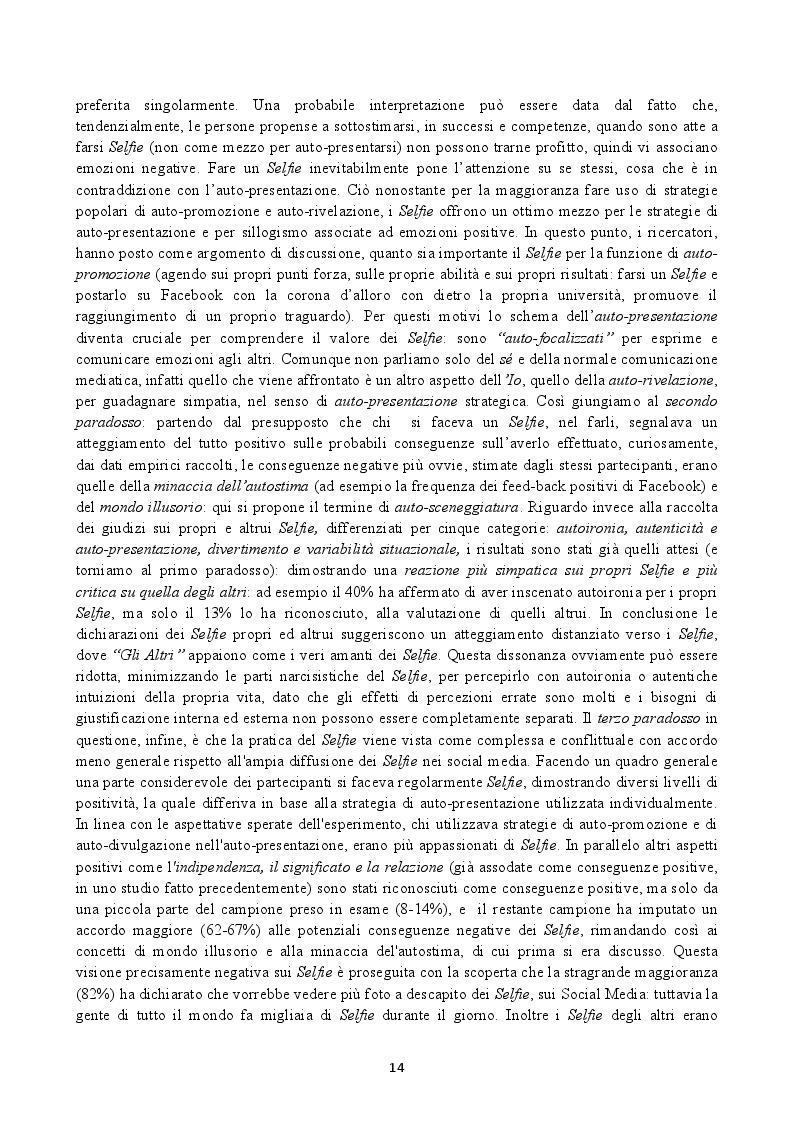 Anteprima della tesi: Il Selfie: strutture e dinamiche psico-sociali. Il paradosso comunicativo dell'immagine dell'io, Pagina 4