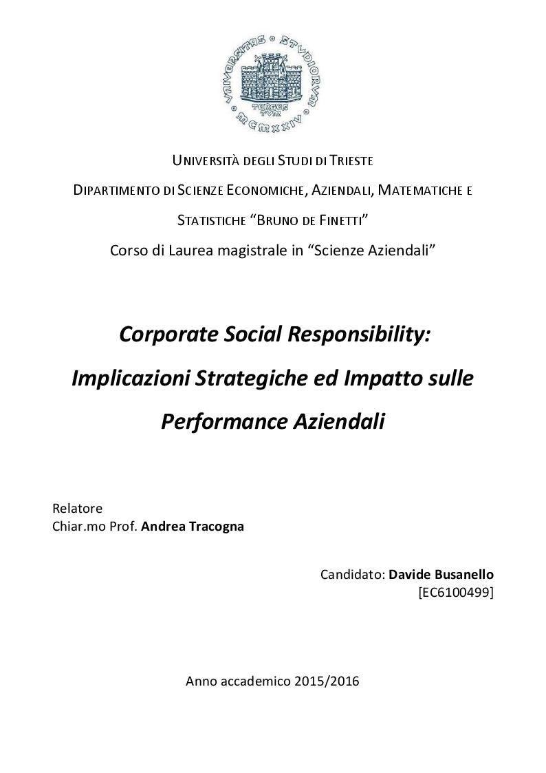 Anteprima della tesi: Corporate Social Responsibility: Implicazioni Strategiche ed Impatto sulle Performance Aziendali, Pagina 1