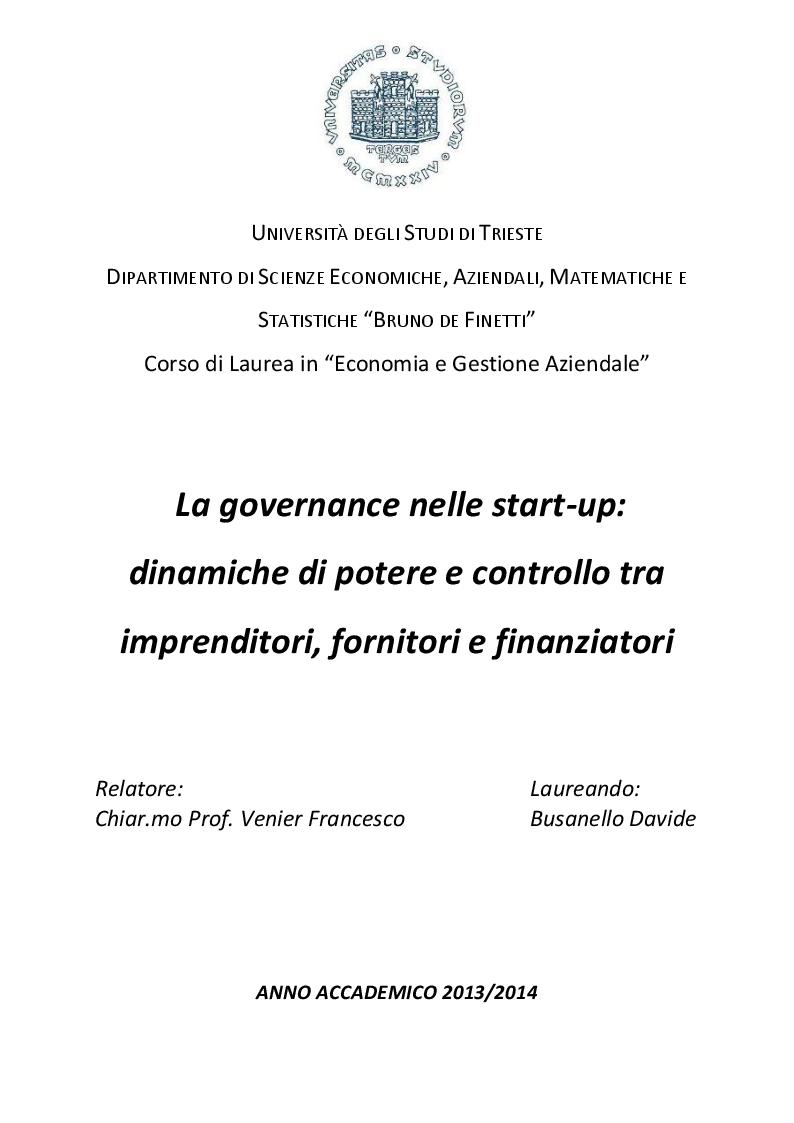Anteprima della tesi: La governance nelle start-up: dinamiche di potere e controllo tra imprenditori, fornitori e finanziatori, Pagina 1