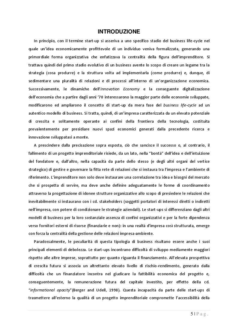 Anteprima della tesi: La governance nelle start-up: dinamiche di potere e controllo tra imprenditori, fornitori e finanziatori, Pagina 2