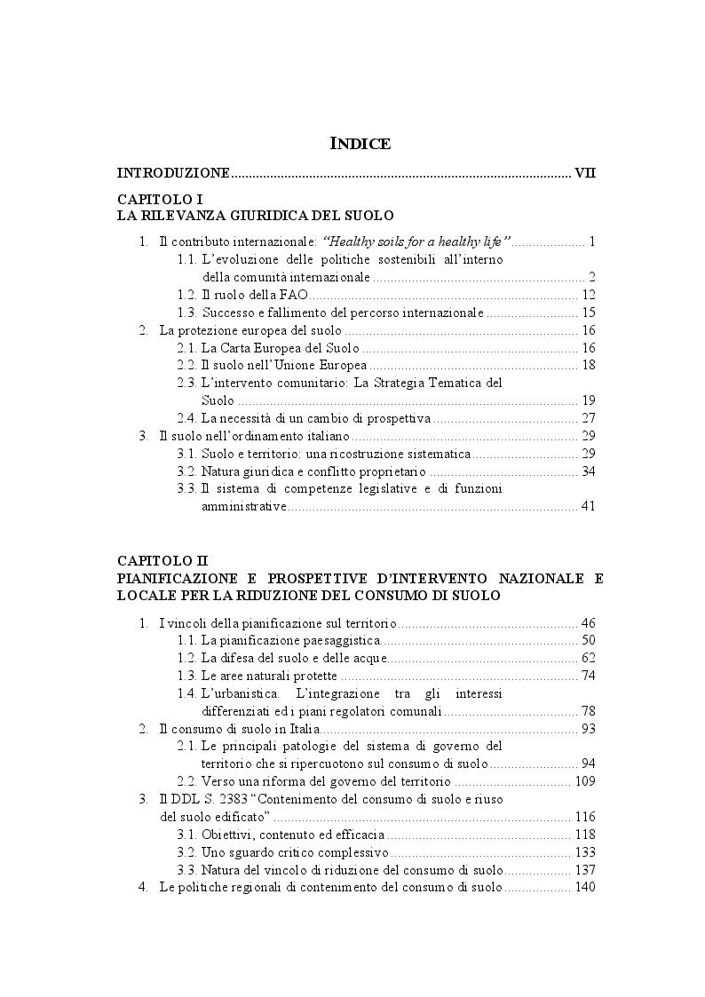 Indice della tesi: La disciplina giuridica del consumo di suolo, Pagina 1