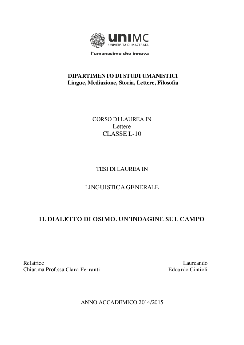 Anteprima della tesi: Il dialetto di Osimo. Un'indagine sul campo, Pagina 1