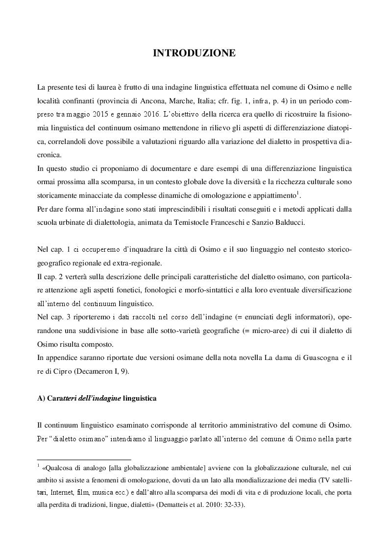 Anteprima della tesi: Il dialetto di Osimo. Un'indagine sul campo, Pagina 2