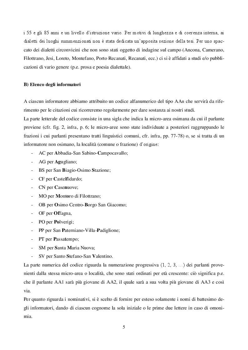 Anteprima della tesi: Il dialetto di Osimo. Un'indagine sul campo, Pagina 4