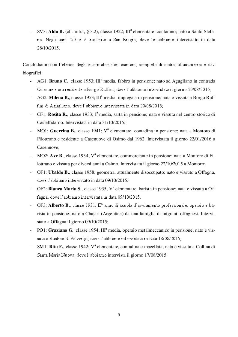 Anteprima della tesi: Il dialetto di Osimo. Un'indagine sul campo, Pagina 8