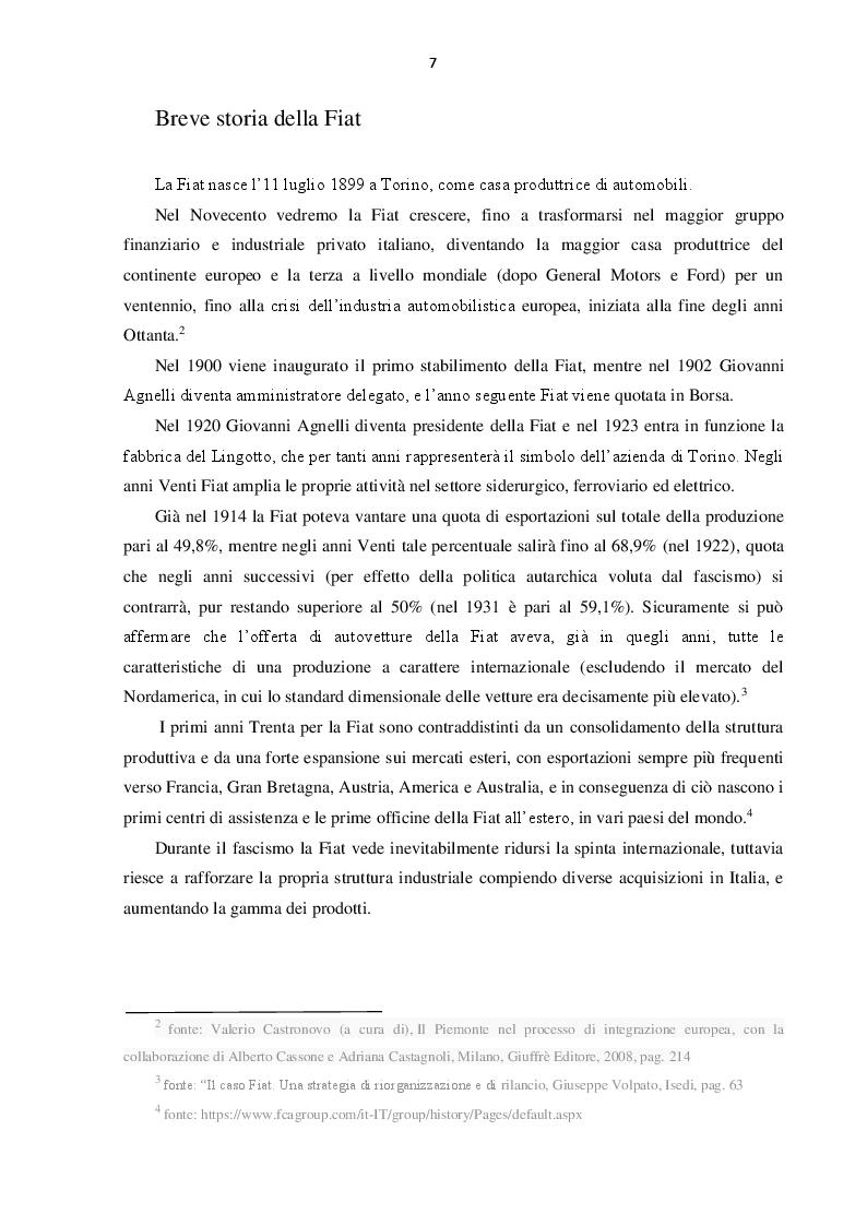 Anteprima della tesi: L'evoluzione del Gruppo Fiat dal 2000 al 2016: dalla crisi alla fusione con Chrysler, Pagina 6