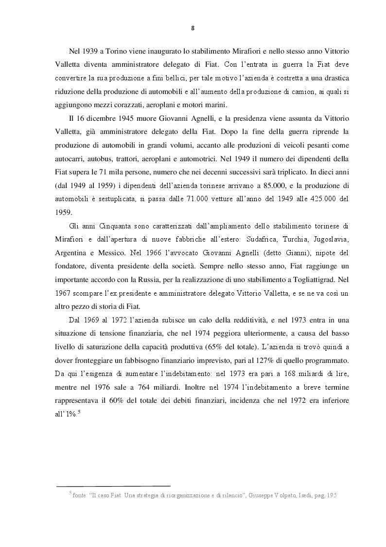 Anteprima della tesi: L'evoluzione del Gruppo Fiat dal 2000 al 2016: dalla crisi alla fusione con Chrysler, Pagina 7