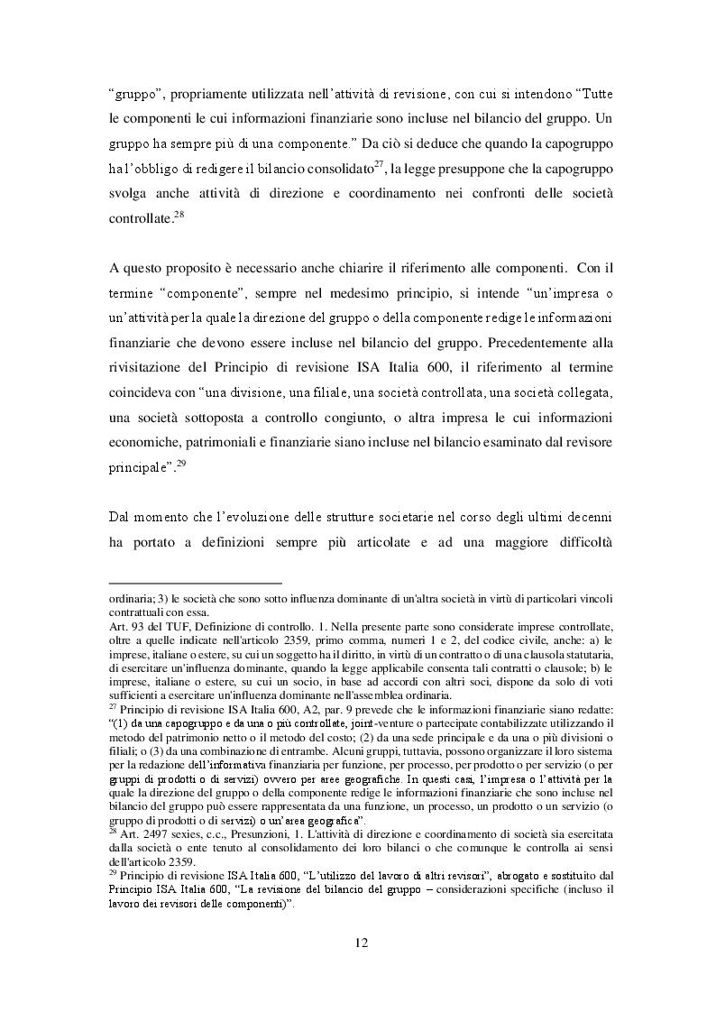 Estratto dalla tesi: Revisione del bilancio consolidato nei gruppi di imprese: il principio di revisione ISA Italia 600