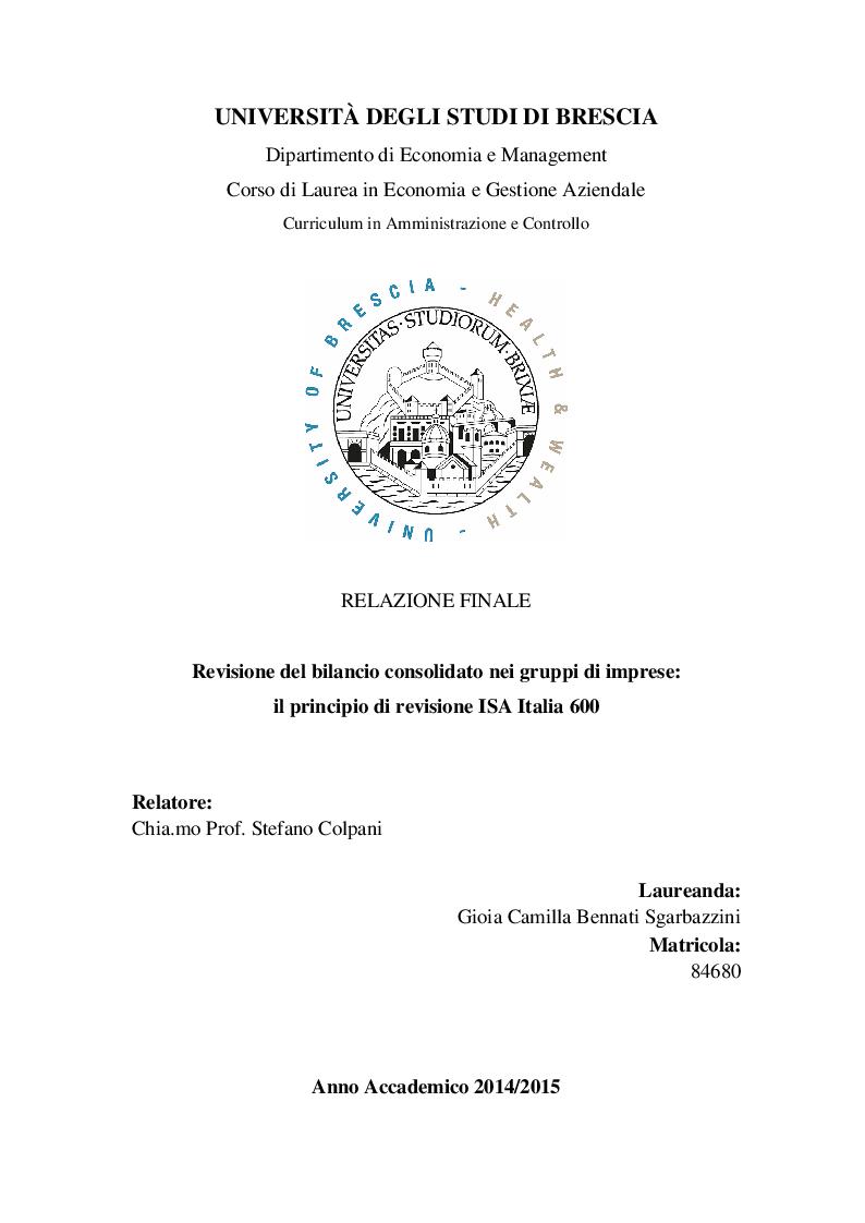 Anteprima della tesi: Revisione del bilancio consolidato nei gruppi di imprese: il principio di revisione ISA Italia 600, Pagina 1