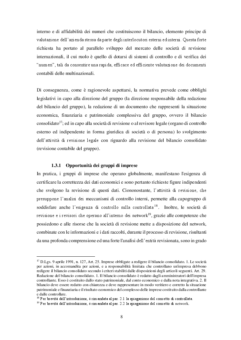 Anteprima della tesi: Revisione del bilancio consolidato nei gruppi di imprese: il principio di revisione ISA Italia 600, Pagina 5