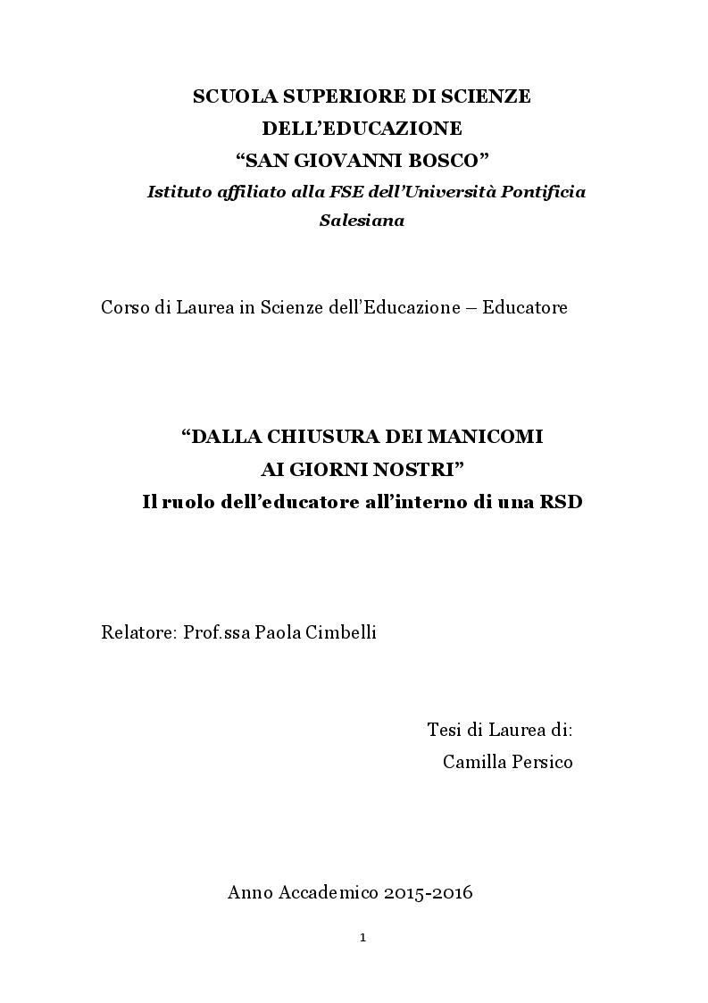 Anteprima della tesi: Dalla chiusura dei manicomi ai giorni nostri. Il ruolo dell'educatore all'interno di una RSD, Pagina 1