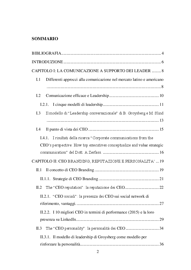 Indice della tesi: La figura dei CEO e la comunicazione lo sviluppo del concetto di CEO branding: reputazione e personalità, Pagina 1