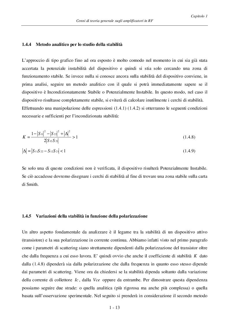 Estratto dalla tesi: Progetto ed Analisi di un Amplificatore a Basso Rumore con Lossless Feedback