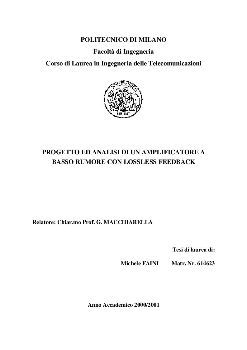 Anteprima della tesi: Progetto ed Analisi di un Amplificatore a Basso Rumore con Lossless Feedback, Pagina 1