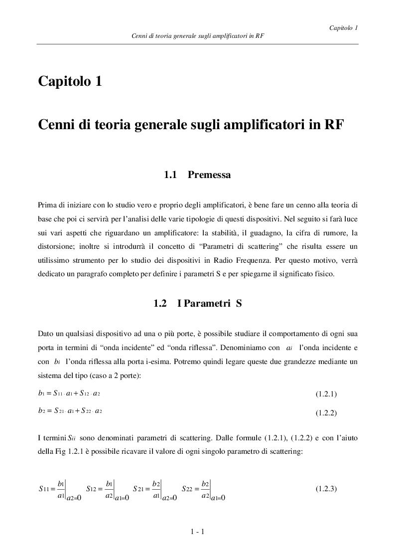 Anteprima della tesi: Progetto ed Analisi di un Amplificatore a Basso Rumore con Lossless Feedback, Pagina 4