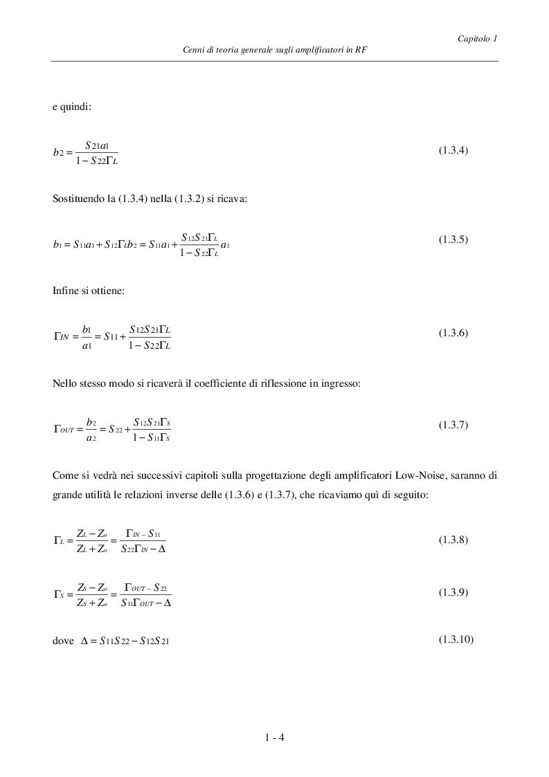Anteprima della tesi: Progetto ed Analisi di un Amplificatore a Basso Rumore con Lossless Feedback, Pagina 7