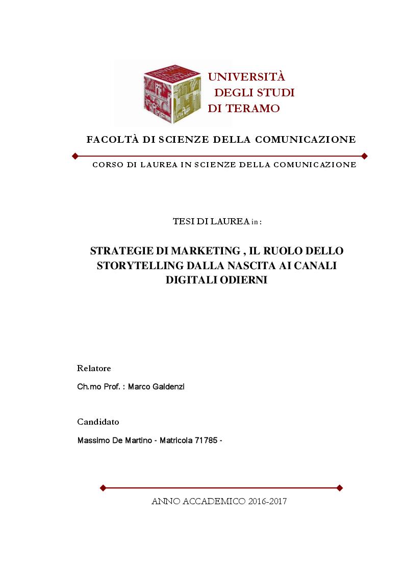 Anteprima della tesi: Strategie di Marketing, il Ruolo dello Storytelling dalla nascita ai Canali Digitali odierni, Pagina 1