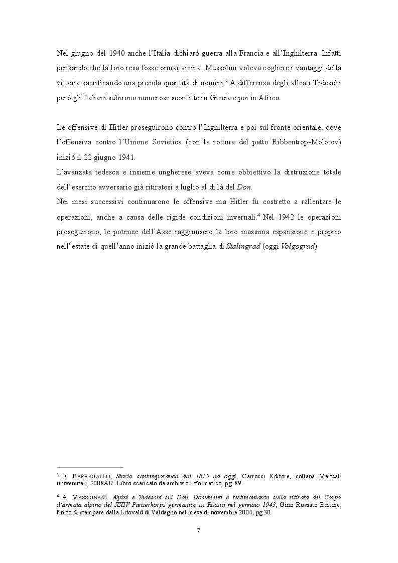 Anteprima della tesi: GENNAIO 1943: La ritirata degli alpini di Russia nelle memorie di un testimone, Pagina 5