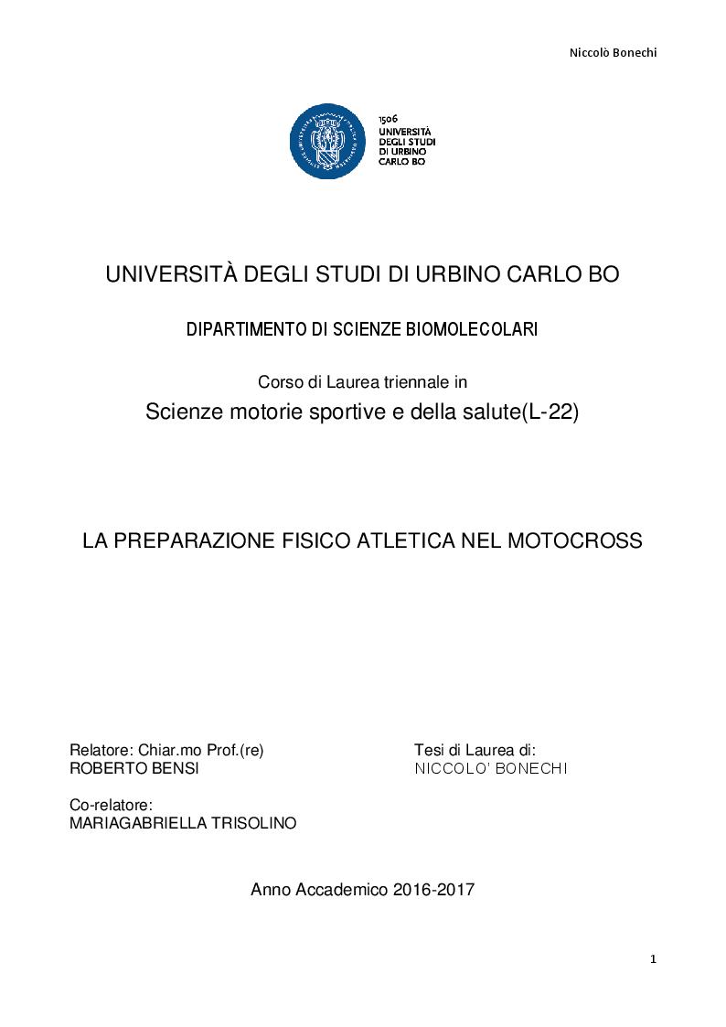 Anteprima della tesi: La preparazione fisico atletica nel motocross, Pagina 1