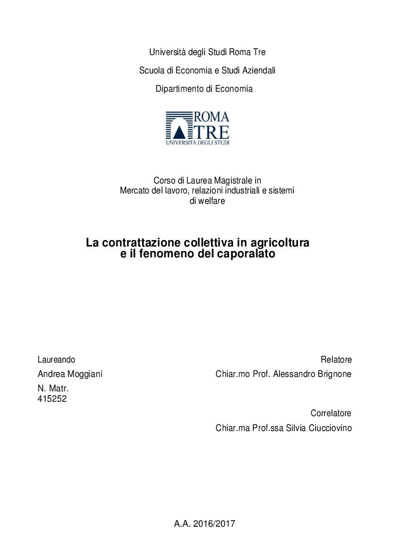 Anteprima della tesi: La contrattazione collettiva in agricoltura e il fenomeno del caporalato, Pagina 1
