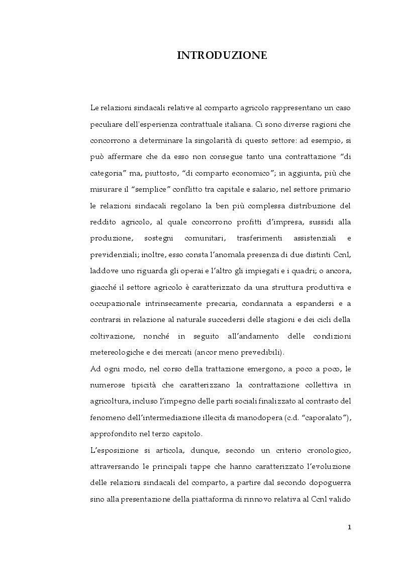 Anteprima della tesi: La contrattazione collettiva in agricoltura e il fenomeno del caporalato, Pagina 2