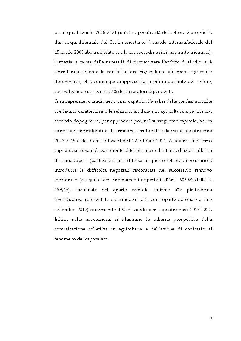 Anteprima della tesi: La contrattazione collettiva in agricoltura e il fenomeno del caporalato, Pagina 3