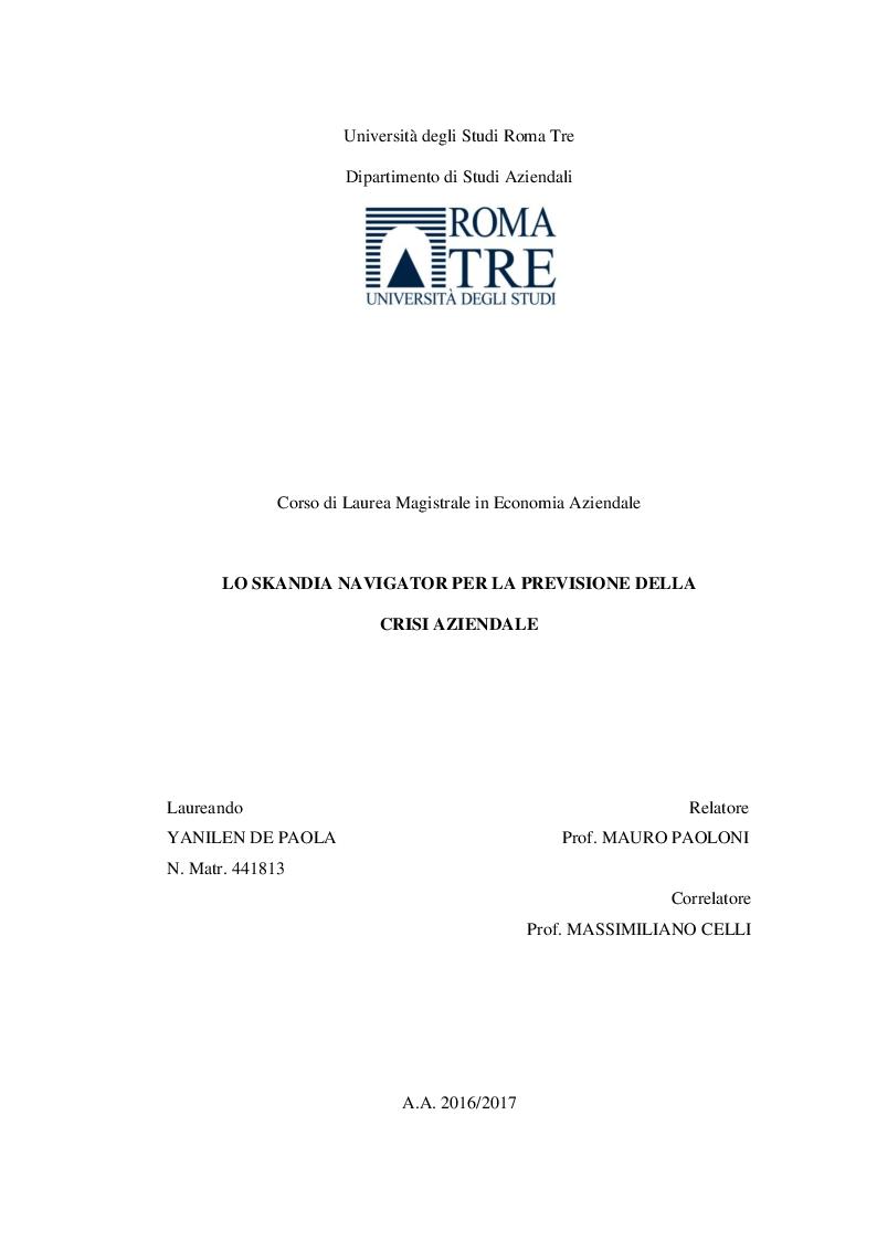 Anteprima della tesi: Lo Skandia Navigator per la previsione della crisi aziendale, Pagina 1