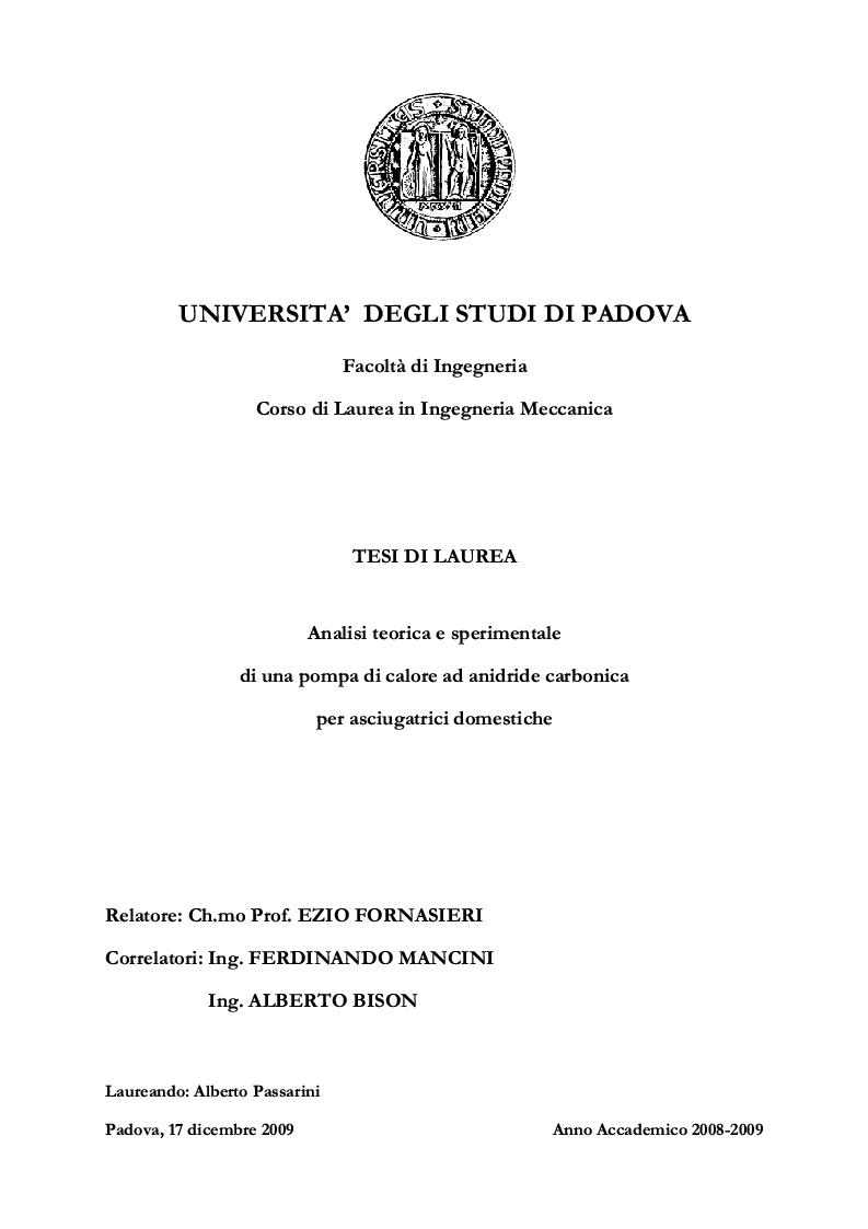 Anteprima della tesi: Analisi teorica e sperimentale di una pompa di calore ad anidride carbonica per asciugatrici domestiche, Pagina 1