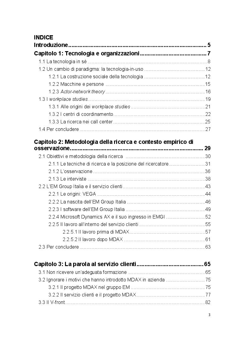Indice della tesi: Tecnologia, organizzazione e lavoratori: il caso studio dell'EM Group, Pagina 1