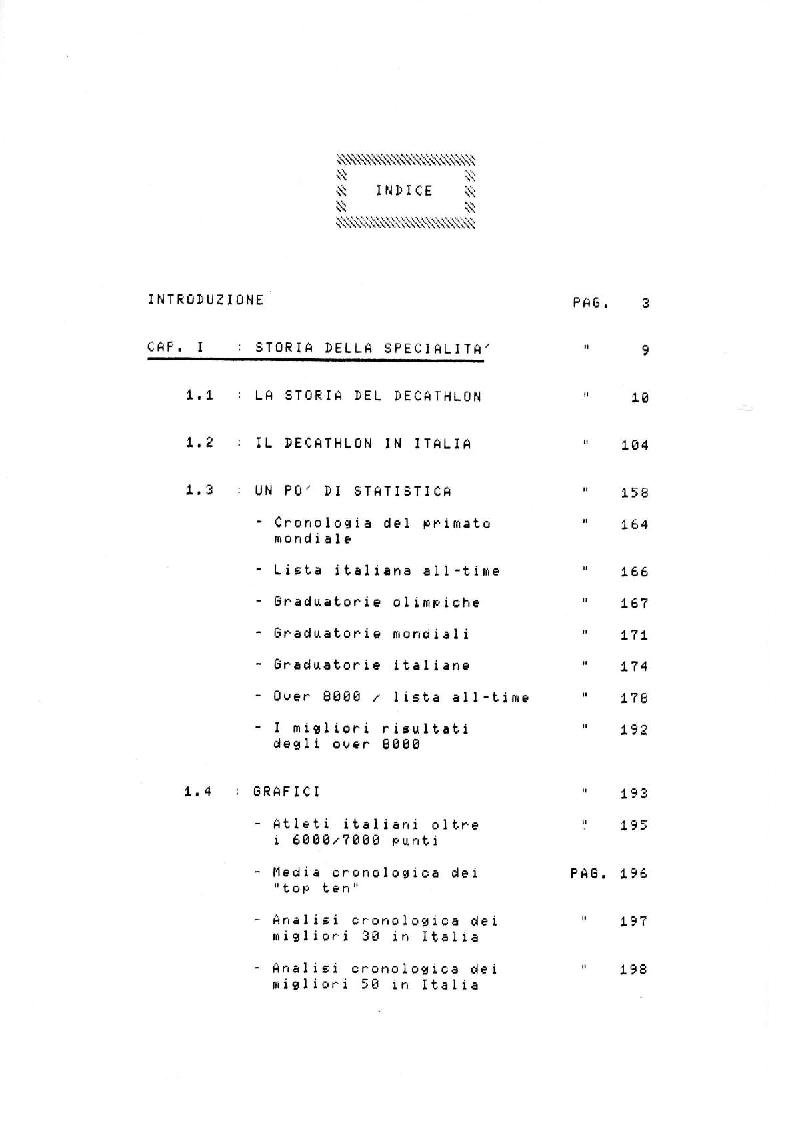 Indice della tesi: Il Decathlon, Pagina 1