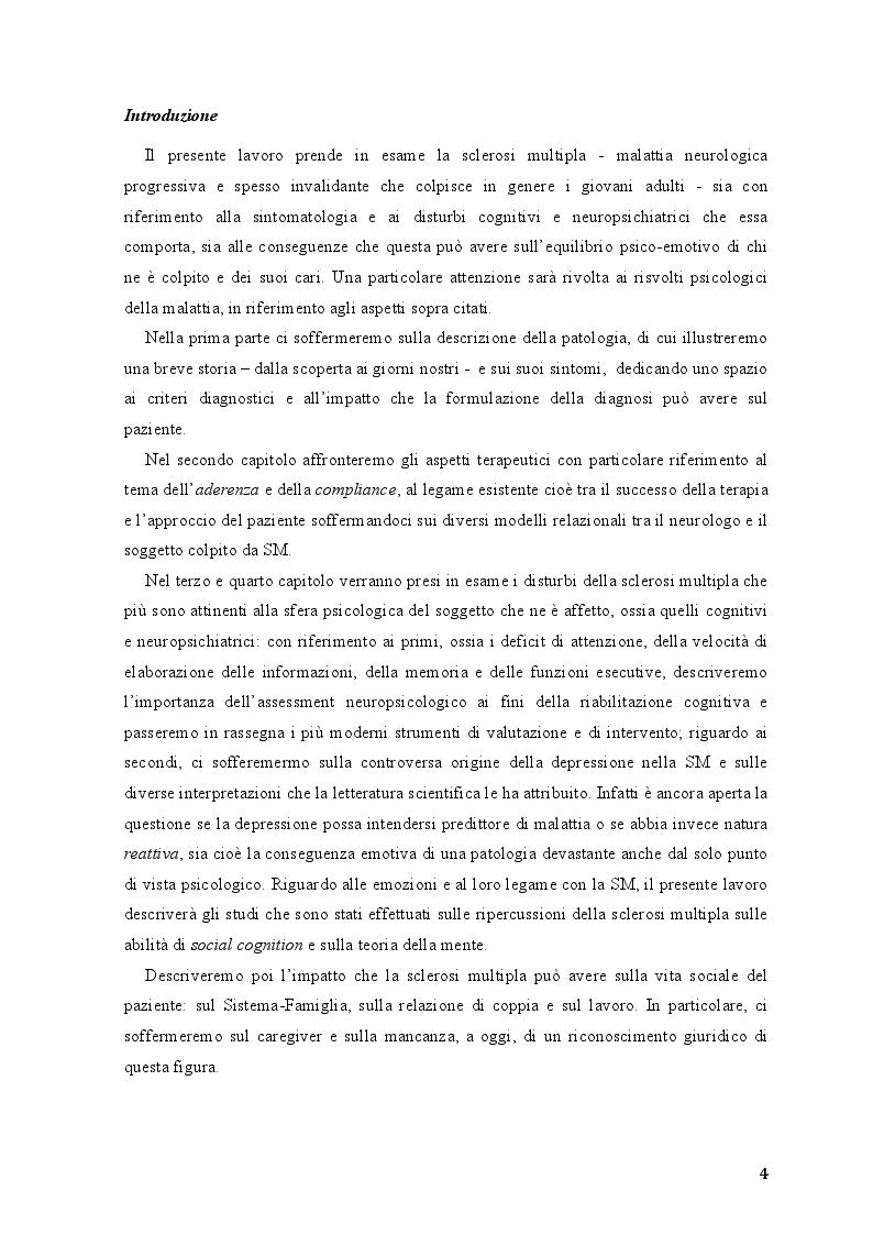 Anteprima della tesi: Disturbi neuropsichiatrici e cognitivi nella sclerosi multipla, Pagina 2
