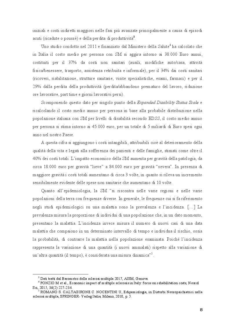 Anteprima della tesi: Disturbi neuropsichiatrici e cognitivi nella sclerosi multipla, Pagina 6