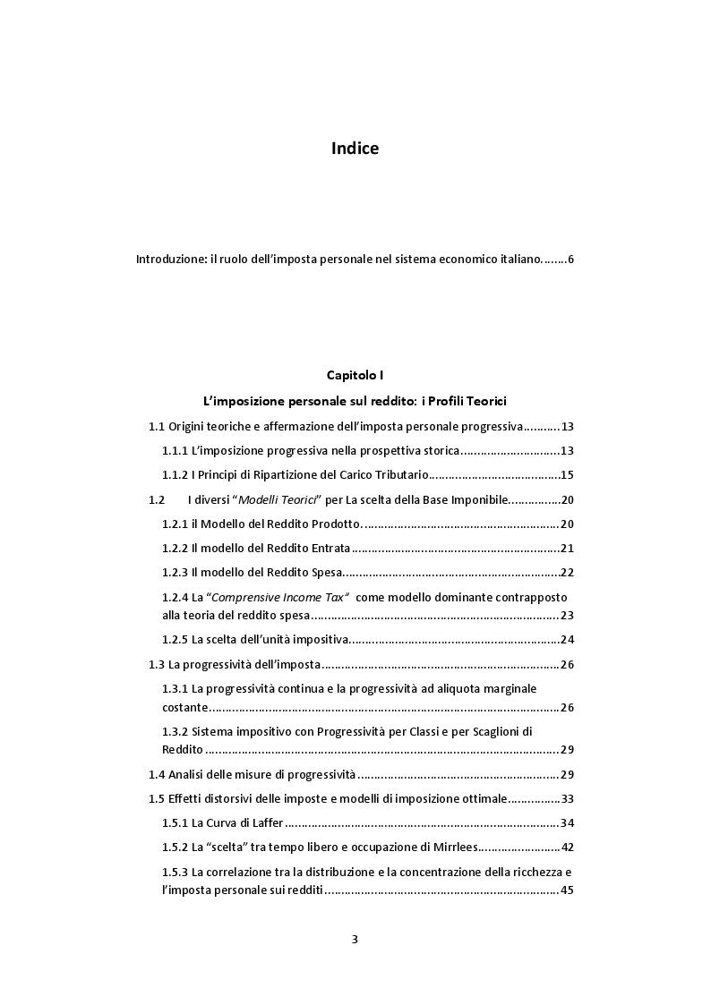 Indice della tesi: L'imposta personale sul reddito nel contesto italiano: Profili Teorici Evoluzione Storica e Proposte di Modifica, Pagina 1