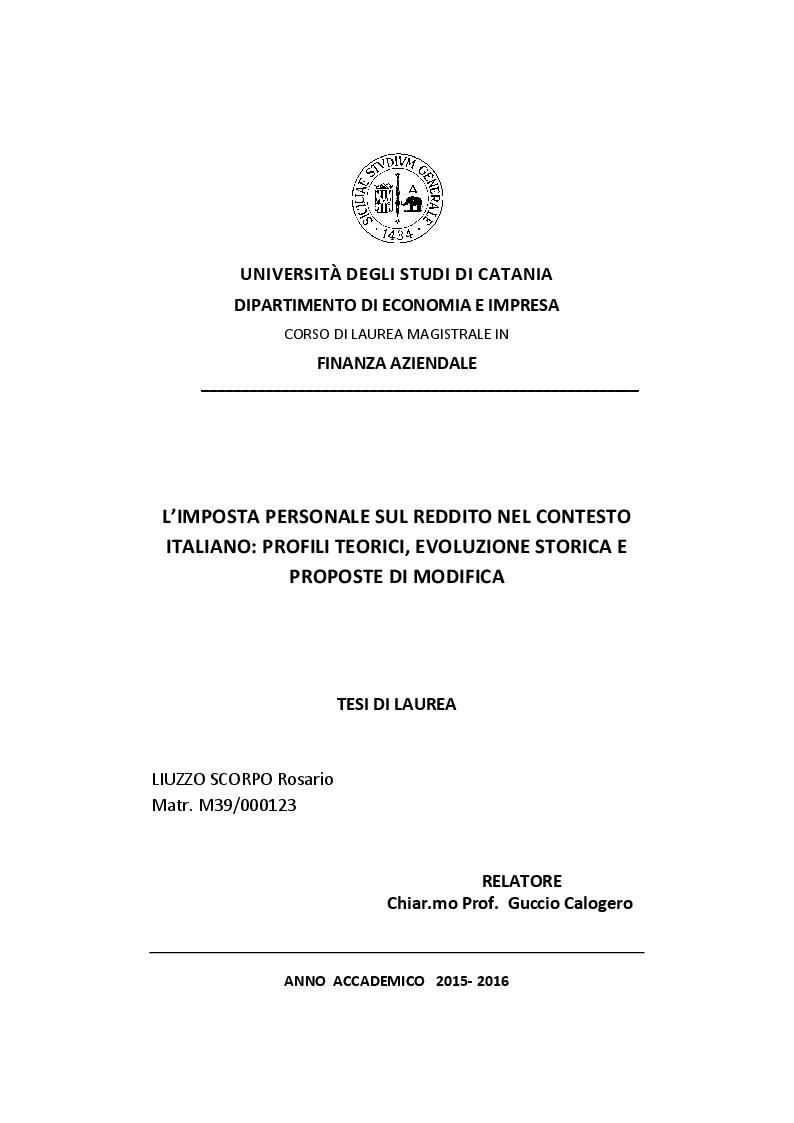 Anteprima della tesi: L'imposta personale sul reddito nel contesto italiano: Profili Teorici Evoluzione Storica e Proposte di Modifica, Pagina 1