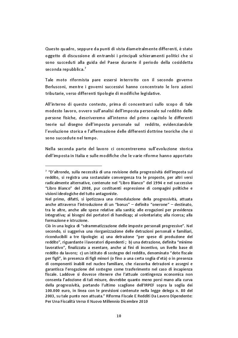 Anteprima della tesi: L'imposta personale sul reddito nel contesto italiano: Profili Teorici Evoluzione Storica e Proposte di Modifica, Pagina 6