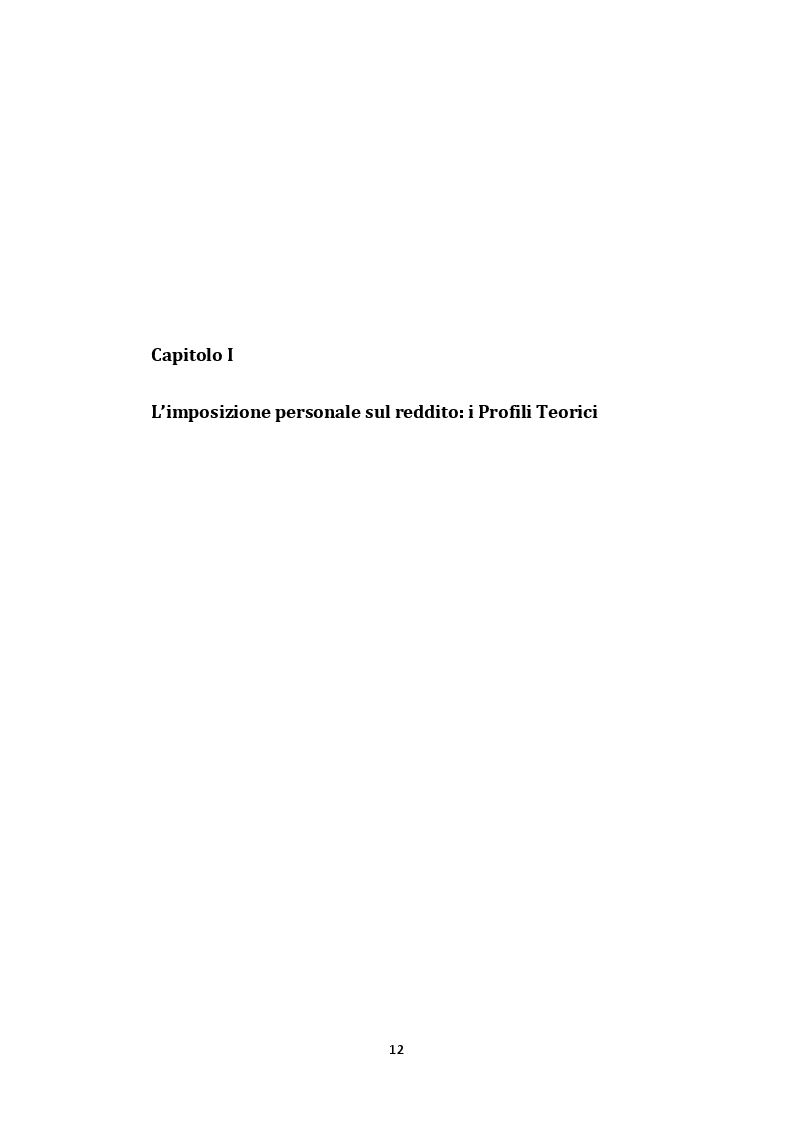 Anteprima della tesi: L'imposta personale sul reddito nel contesto italiano: Profili Teorici Evoluzione Storica e Proposte di Modifica, Pagina 8