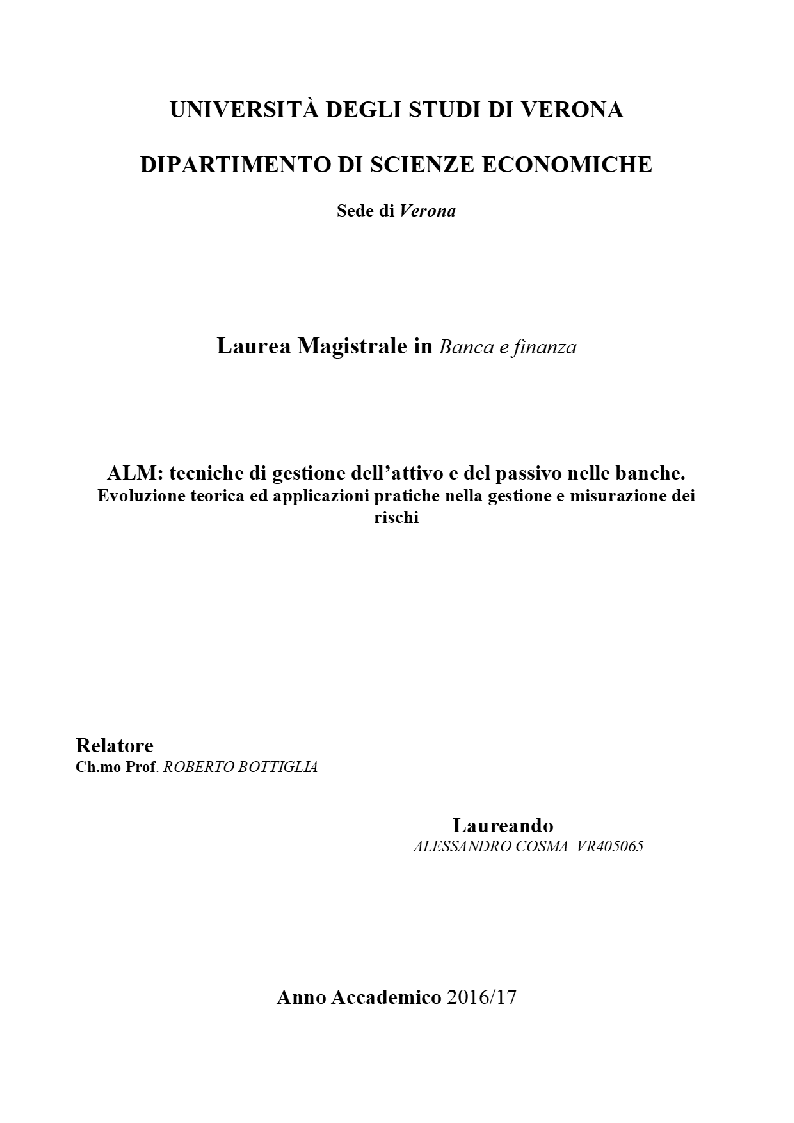 Anteprima della tesi: ALM: tecniche di gestione dell'attivo e del passivo nelle banche. Evoluzione teorica ed applicazioni pratiche nella gestione e misurazione dei rischi., Pagina 1