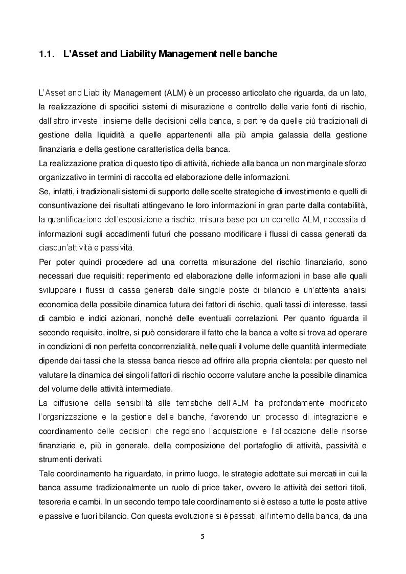 Anteprima della tesi: ALM: tecniche di gestione dell'attivo e del passivo nelle banche. Evoluzione teorica ed applicazioni pratiche nella gestione e misurazione dei rischi., Pagina 5