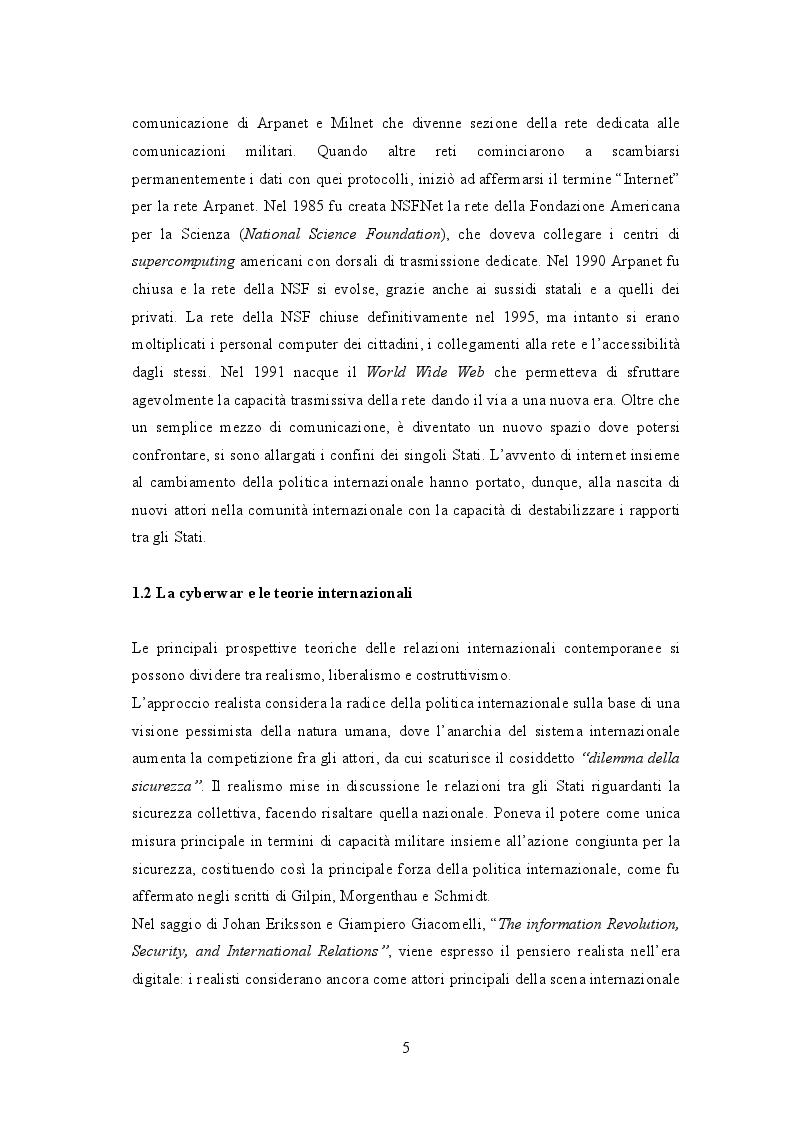 Anteprima della tesi: Cyberwar: l'instabilità nelle relazione internazionali, Pagina 4