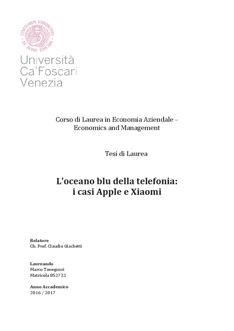 Anteprima della tesi: L'oceano blu della telefonia: casi Apple e Xiaomi, Pagina 1