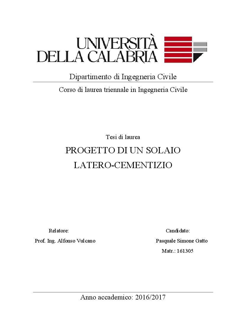 Anteprima della tesi: Progetto si un solaio  Latero-Cementizio, Pagina 1