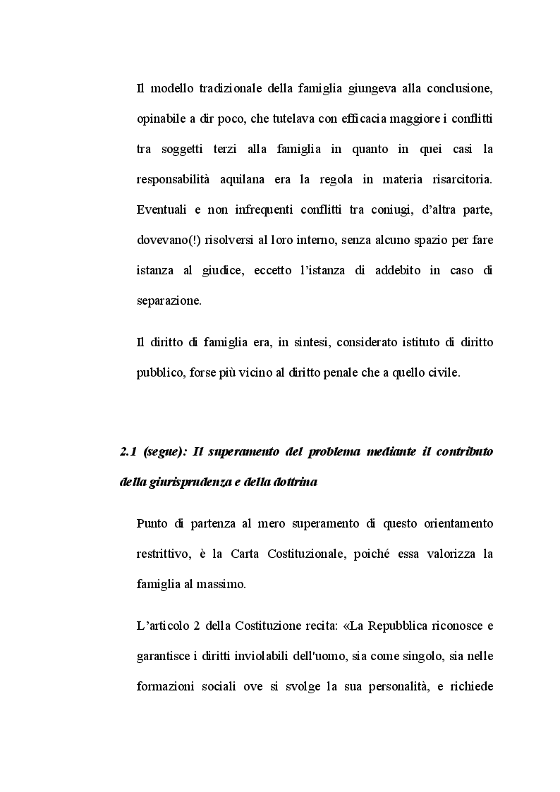 Anteprima della tesi: L'illecito endofamiliare, tra acquisizioni giurisprudenziali e criticità del sistema giuridico, Pagina 7