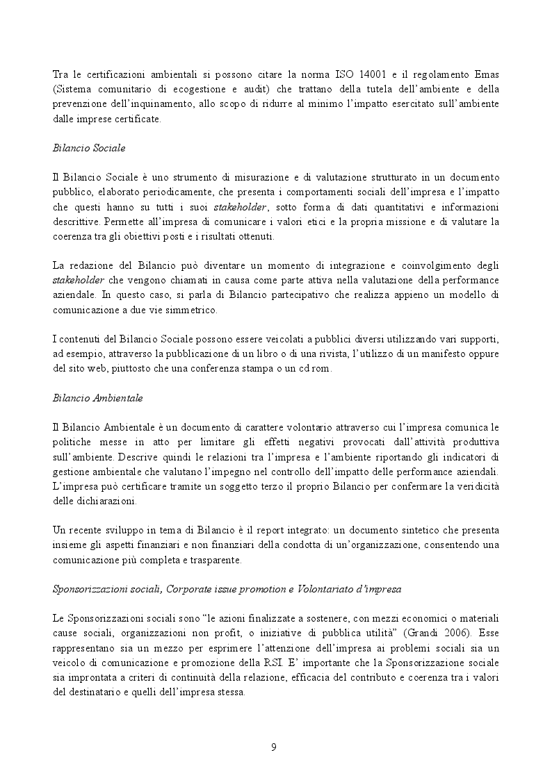 """Estratto dalla tesi: La Responsabilità Sociale d'Impresa: """"far bene e farlo sapere"""""""