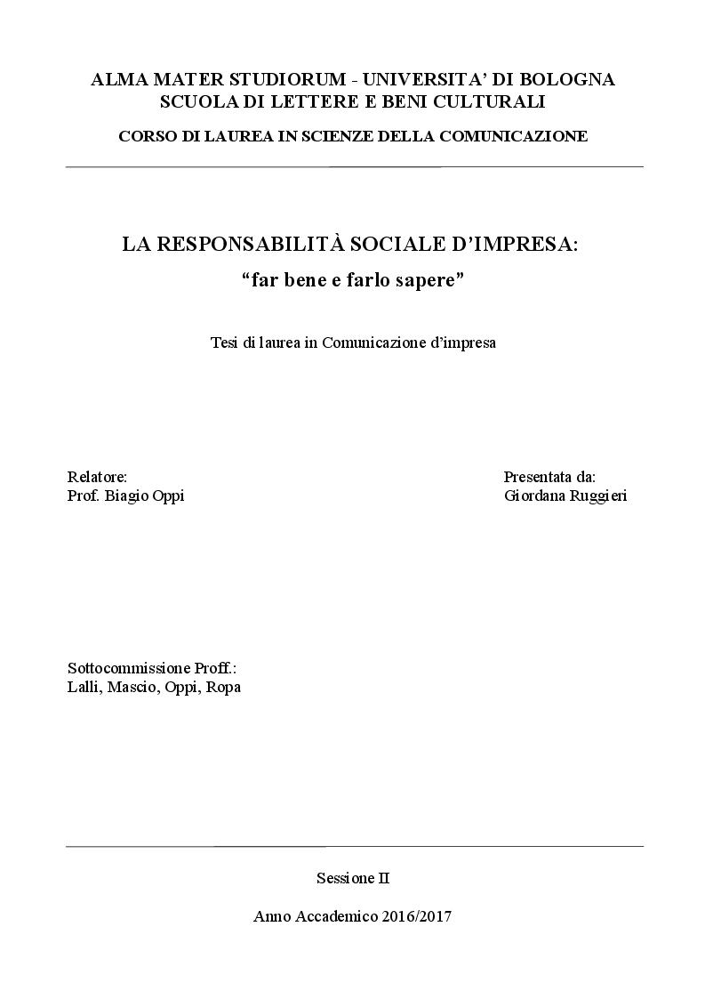 """Anteprima della tesi: La Responsabilità Sociale d'Impresa: """"far bene e farlo sapere"""", Pagina 1"""