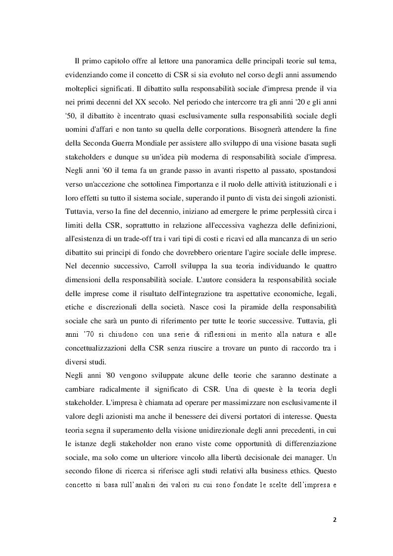 Anteprima della tesi: Corporate Social Responsibility e teoria economica, Pagina 3