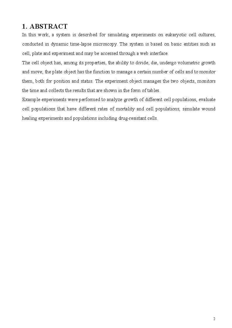 Anteprima della tesi: In silico simulation of cell proliferation and movement, Pagina 2