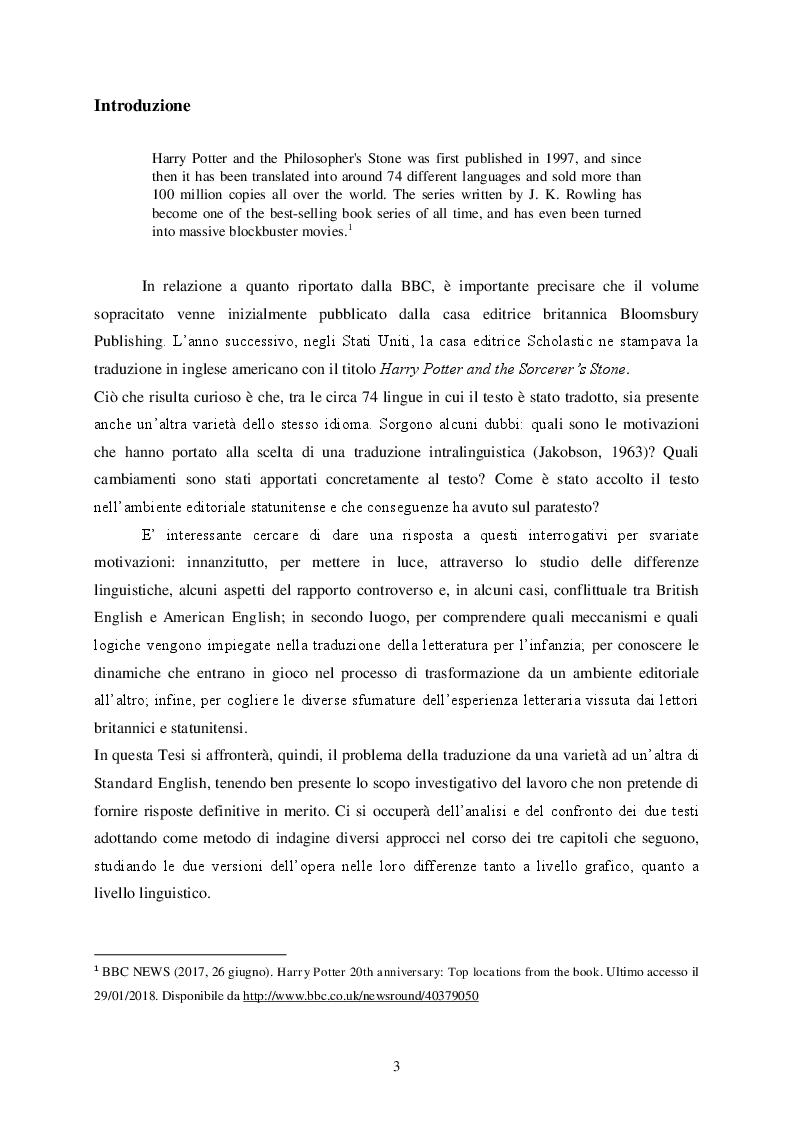 Anteprima della tesi: Da Londra a New York: Esperienza di Traduzione da Harry Potter and the Philosopher's Stone a Harry Potter and the Sorcerer's Stone, Pagina 2